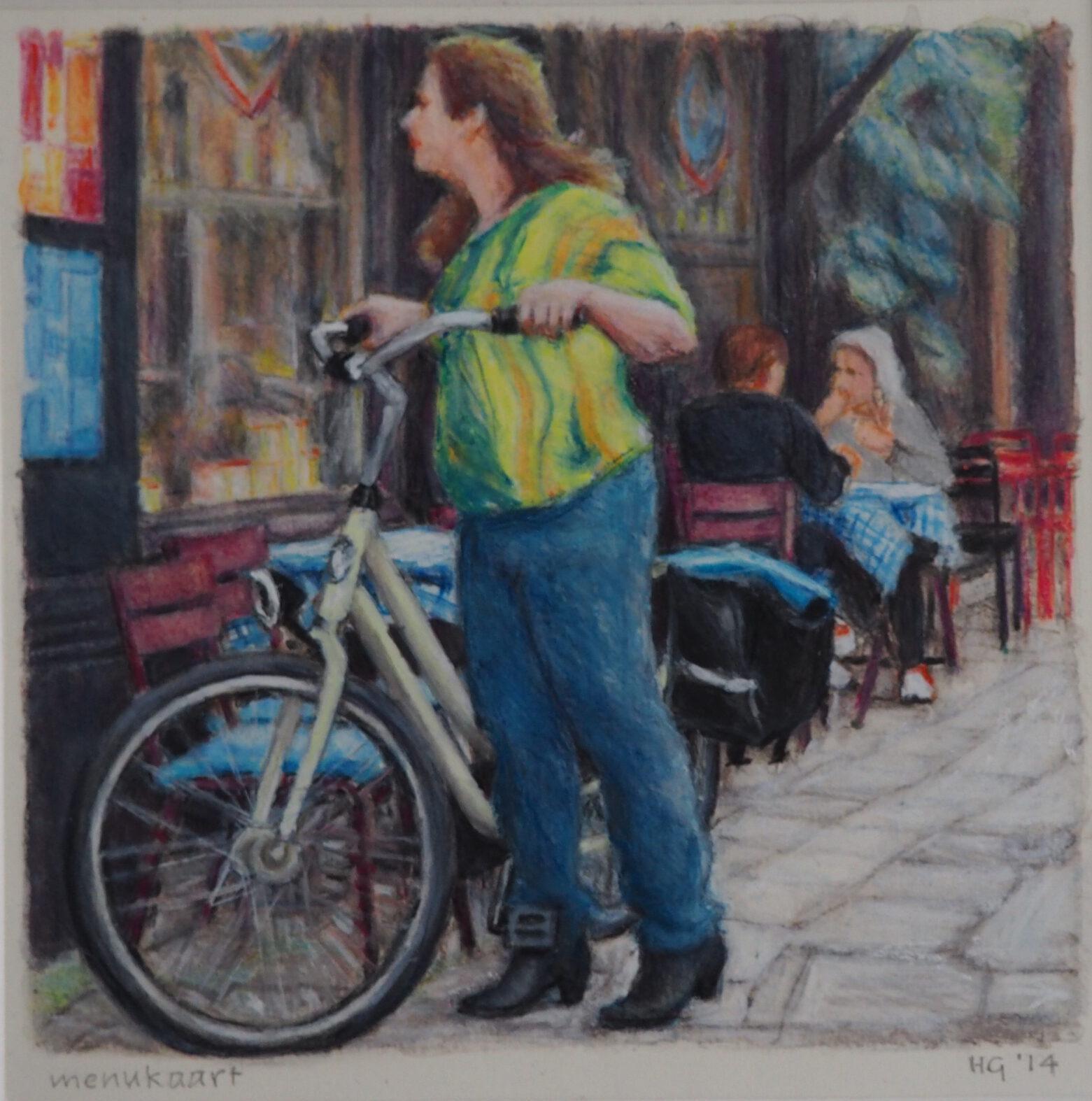 36.Hetty-Geursen_mo3_menukaart-dame-op-fiets